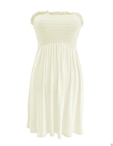 trendy-clothings robe tube Bustier froncé haut bandeau Mini robe d'été plus Taille Crème