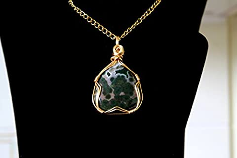 A 37.25 carat pear Ocean Jasper gemstone, gold, gilt plated free form designed wrap pendant, with a Rose
