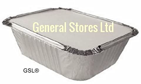 100 ALUMINIUM FOIL FOOD CATERING GRADE STORAGE CONTAINERS + 100 LIDS - No2