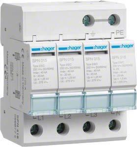 Hager SPN418 Überspannungsleiter 4-polig steckbar Schaltvariante TT 3+1