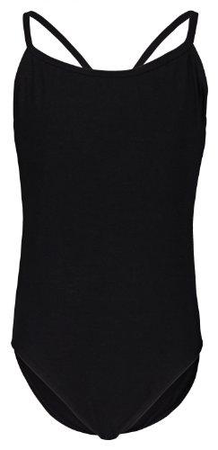 tanzmuster maillot de ballet de tirantes finos 'Leonie' para niñas en negro, 92/98 (3-4 años)