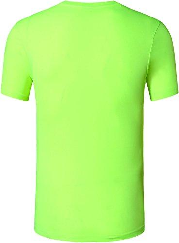 Jeansian Uomo Asciugatura Rapida Sportivo Casuale Slim Sports Fashion Tee T-Shirts Camicie LSL1059 LSL132_GreenYellow