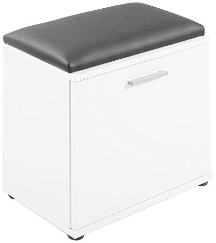 CAVADORE Sitzbank JUSTUS / Hocker in Melamin Weiß mit schwarzem Kunstleder Sitzkissen und...
