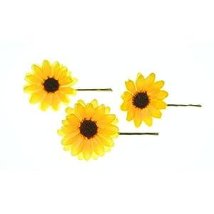 clarigo, Haarnadeln, Haarklammern, Haarklemmen, Sonnenblume, gelb, Hochzeit, Kommunion, Blumen, Blumenmädchen