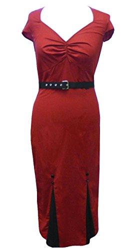 Une Super Sexy Robe Fourreau de Style Retro Burlesque ou Pin Up. De Coton. Pour le Bureau ou le Soireé. Tailles 36-58 Rouge