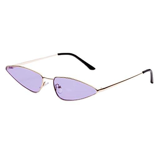 Fenteer Klassische Retro Metallbrücken Mini Cat Eye Designer Sonnenbrille für Herren und Damen - Lila