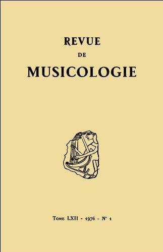 Revue de musicologie tome 62, n 1 (1976)