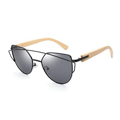LPLHJD Sunglasses Womens Farbfilm Mode Sonnenbrillen Männer und Frauen Bambus Holz Sonnenbrillen Bambus Beine Sonnenbrillen (Color : Grau, Size : Kostenlos)