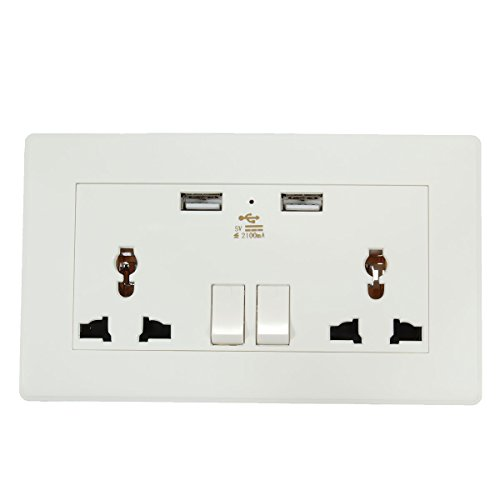 MYAMIA 5V 2.1A Electric Dual Port USB Wall AC Power Socket Charger Station Outlet Adapter Plate Adapter Power Station