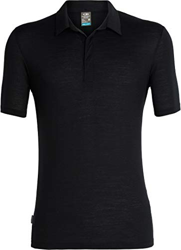 Icebreaker Merino Men's Solace Short Sleeve Polo Shirt, Small, Midnight Navy Hthr