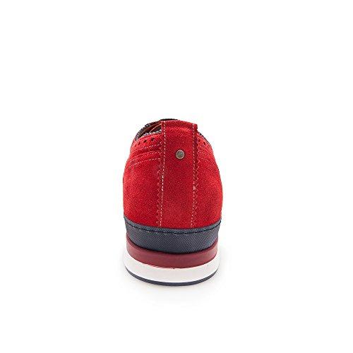 Zeraltos. Chaussures réhaussantes intérieur pour messieurs. Augmentation + 7 cm. Velour rojo cuir, respirant, confortable. Rouge