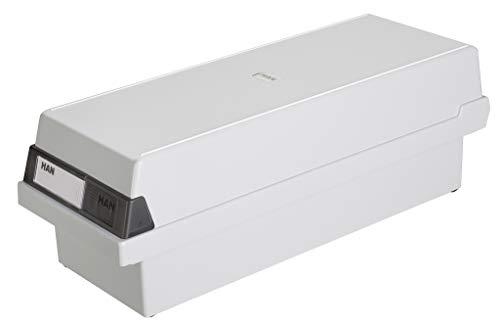 HAN Karteikasten A7 957-11 für 1.300 Karten, quer – Karteikartenbox in Lichtgrau mit großem Schriftfeld & inkl. 2 Stützplatten - simpel Ordnung halten