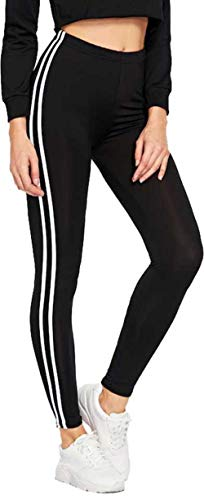 INFISPACE® Women & Girls Sporty Double Line Cropped Jegging for Yoga, Gym and Sports (14-17 Years) Black