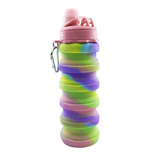 Enticerowts Faltbare Silikon-Wasserflasche mit Karabiner - einziehbarer Wasserbecher, 100% BPA-frei, auslaufsicher, faltbar für platzsparende Reisen, Camping und Wandern Rose -