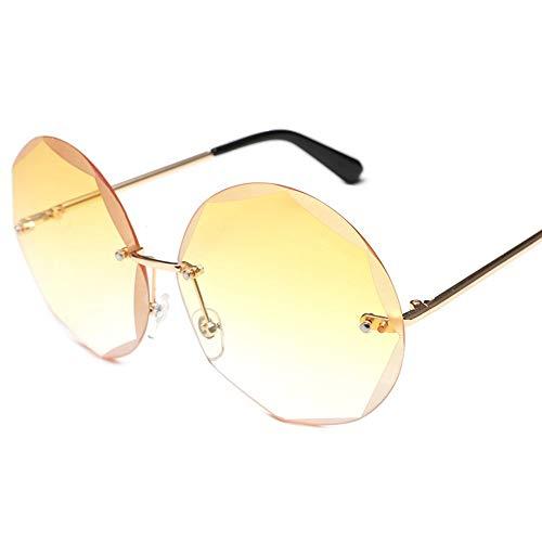 MJDABAOFA Sonnenbrillen,Runde Rahmenlose Sonnenbrille Farbverlauf Gold Frame Yelloe Objektiv Frauen Trends Großen Kreis Gradient Transparente Sonnenbrille Uv400