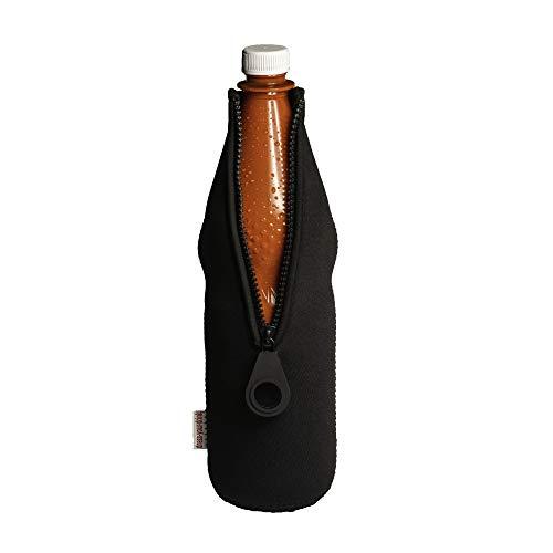 DRESS-YOUR-DRINK Flaschenkühler 0,7-1,0L für Glas- & PET Flaschen, Neopren, Getränkekühler, (schwarz, 1)