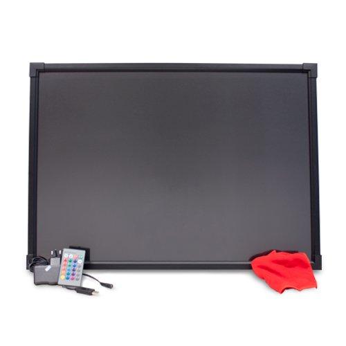 HALOTEC Pizarra LED RGB luminosa de 50x70cm color negro con marco aluminio / Borrable con alimentación incluida a 12V posibilidad de cambios de color 28 combinaciones incluye mando a distancia