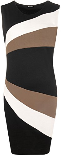 Damen Ärmellos Block Kontrast Panel Streifen Figurbetont Party Kleid Plus Größe Mokka