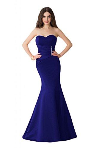 Sunvary Elegant Neu 2014 Traegerlos Satin Lang Mermaid Damen Abendkleider Promkleider Abendmode Royalblau