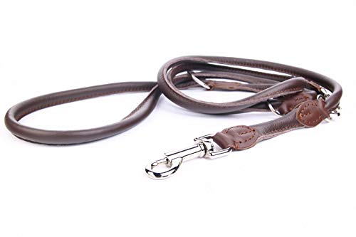 HOGACA sehr edle Echt-Leder-Hunde-Leine 962 ø10mm / 220cm Handarbeit Made in EU verstellbar mit hochwertiger silberfarbiger Schnalle aus Chromnickelstahl