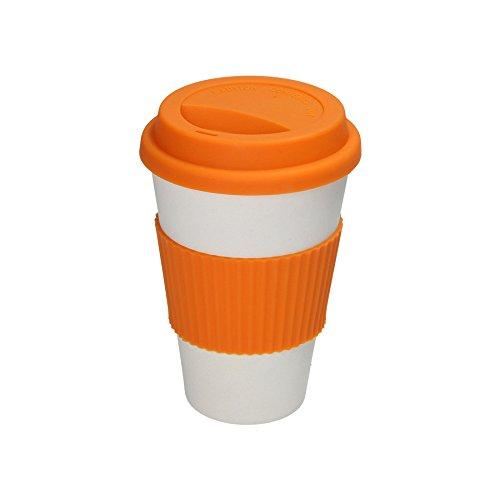BIOZOYG Nachhaltiger Kaffeebecher to go aus Bambus 375ml I Bambus Kaffee to go Becher Natur-weiß mit Silikondeckel und Silikonmanschette in orange I Coffee Cup Spülmaschinenfest BPA frei