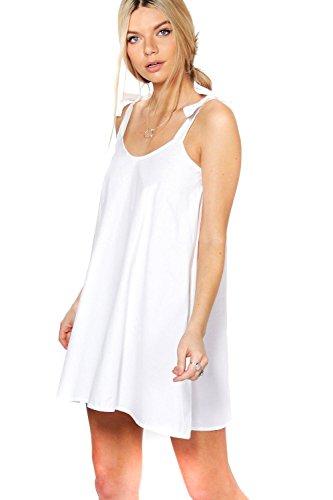 blanc Femme Ellie Robe Trapèze Élastiquée En Coton Blanc