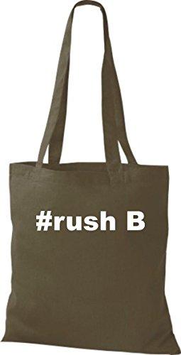Shirtstown Stoffbeutel Hashtag #rush B olive
