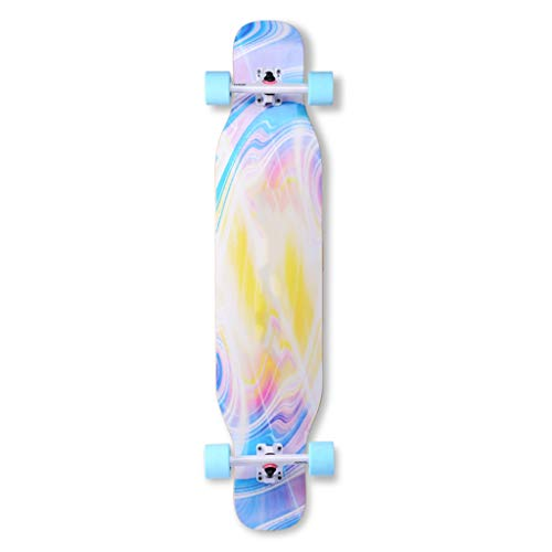 HBJB Komplettboard inkl T-Tool mit High Speed ABEC11 Kugellagern Drop-Through Freeride Skaten Cruiser Boards 110 * 23.5cm Longboard (Color : C) -