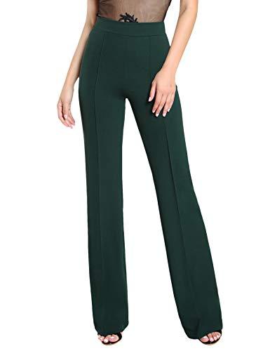DIDK Damen Hosen Hohe Taille Breites Bein Lange Hose Palazzo Einfarbig Anzughose Büro Pants mit Reißverschluss Grün L