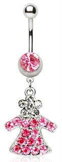 Rosa chiaro fiori e angelo dressbelly ombelico anello