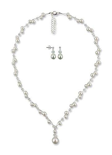 Rivelle Damen Brautschmuck Sete creme Schmuckset Swarovski kristall Perlen Halskette Collier Ohrringe Schmuck Hochzeit Geschenkbox
