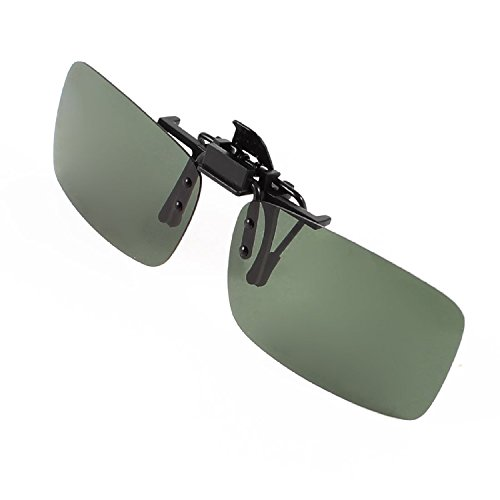 DealMux Polarisierten Randlos Rectangle Dark Green Objektiv Flip Up-Clip auf Sonnenbrillen Brillen-