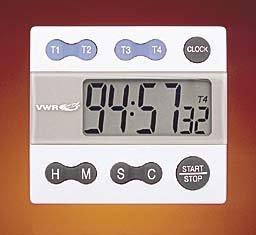 Vwr 62344 – 641 tracciabile calibrato a quattro canali allarme timer con  orologio, altezza 7 cm, larghezza 6 4 cm, lunghezza 1 3 cm