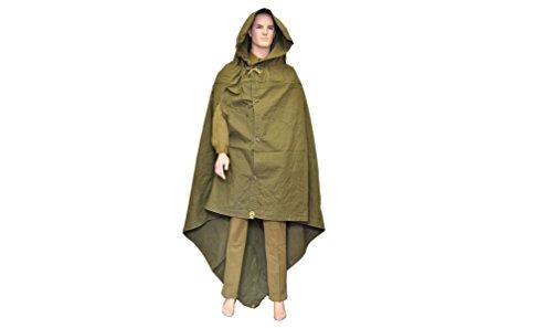 Original-Regenponcho im Stil der sowjetisch-russische Armee 2. Weltkrieg, Soldaten-Stil, Canvas, Umhang, Regenmantel, Poncho plash-palatka mit Leder-Tragegurt
