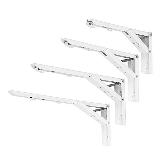 ExcLent 2Pcs 8/10/12/14 Inch Folding Triangle Bracket Heavy Duty Steel L-Shaped Storage Wall Shelf Bracket - 12 Zoll -
