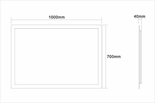 Badspiegel LED Spiegel GS084N mit Beleuchtung durch satinierte Lichtflächen Badezimmerspiegel (100 x 70 cm, kaltweiß) -