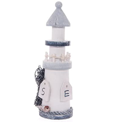 Wooden Seaside Lighthouse with Rope 18cm