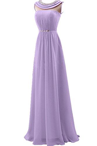 Missdressy Elegant Chiffon Lang Tuell Falten Rundkragen Aermellos Promkleider Ballkleider Festkleider Abendkleider Tanzenkleider Lavendel