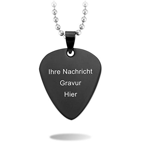 MeMeDIY Schwarz Edelstahl Anhänger Halskette Gitarre Plektrum Herz,mit 58cm Kette Gravur