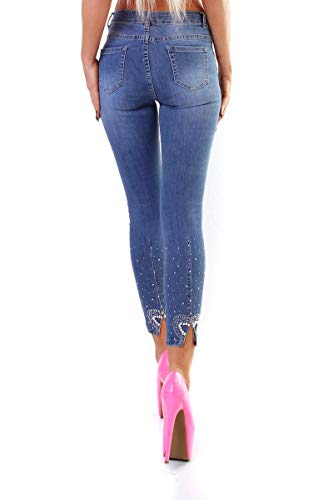 OSAB-Fashion 10472 Damen Jeans Hose Röhre Skinny Stretch Denim Slimfit Perlen Applikationen Übergrößen