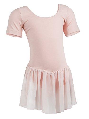 R3040 Rumpf Trikot mit Röckchen, Kurzarm Body für Ballett Tanz Sport Fitness Gymnastik Aerobic Yoga Pilates Dance Farbe pink Pink