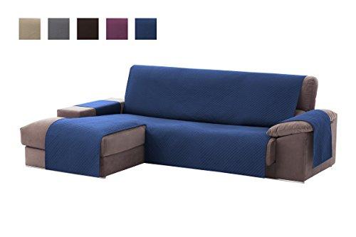 Textilhome - copridivano salvadivano chaise longe adele - color blu -bracciolo sinistra - protezione per divani imbottiti - dimencione 200cm -(visto di fronte).