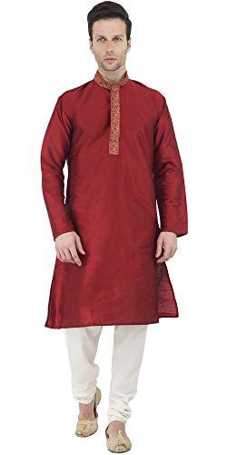 SKAVIJ Hombre Túnica Pijama Kurta Vestido De Fiesta (Rojo, XL-Grande)