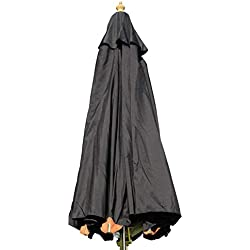 Parasol de jardin en bois de superbe qualité - 3m de large - Proposé en 8couleurs (ici noir)