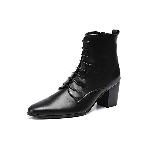 ZWH Herren- und Damenstiefel, Leder, Geschäftsleben, Hohe Schuhe, Freizeit, England, Spitzschuh, Schuhwerk, 6-8 cm (Color : Black, Size : US8.5)