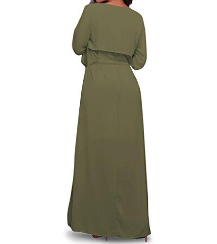 Cardigan D'été, LLQ Femme Gilet manche longue avec Poches Ouvert 4 Couleur Vert militaire