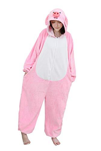 URVIP Neu Unisex Adult Pyjama Cosplay Tier Onesie Body Nachtwäsche Kleid Overall Animal Sleepwear Schlafanzug mit Kapuze Erwachsene Cosplay Kostüm Rosa-Schwein S (Adult Schwein Kostüm)