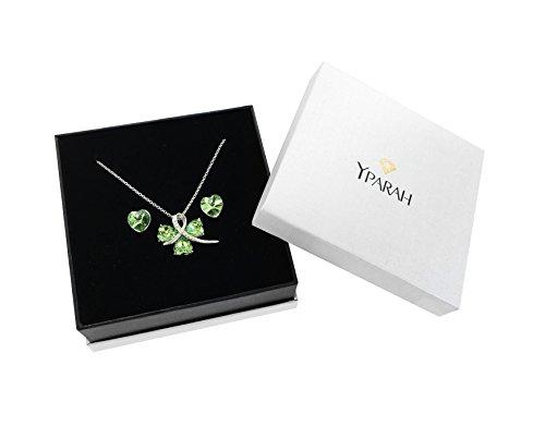 """Yparah - Parure Bijoux Femme - Coffret """"Trèfle Vert"""" Collier et Boucles d'Oreilles - Cristal de Swarovski"""