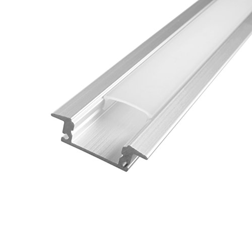 LED Schiene Aluminium Boden Decke Wand unterputz Profil D Milchig trüb weiß (opal) -