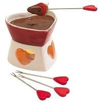 Forma Corazón Cerámica QUESO CHOCOLATE Vela Pequeña Vela Fondue Juego Maceta & 4 tenedores
